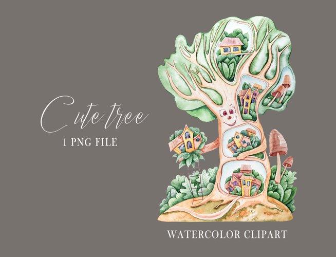 Watercolor cute nursery tree clipart. Cute illustration example 3