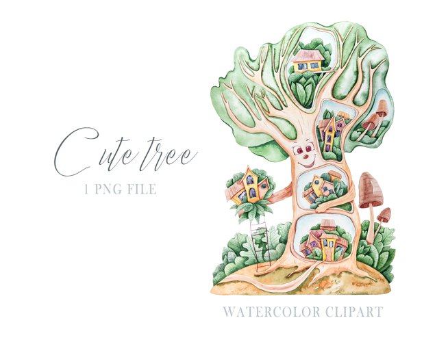 Watercolor cute nursery tree clipart. Cute illustration example 2