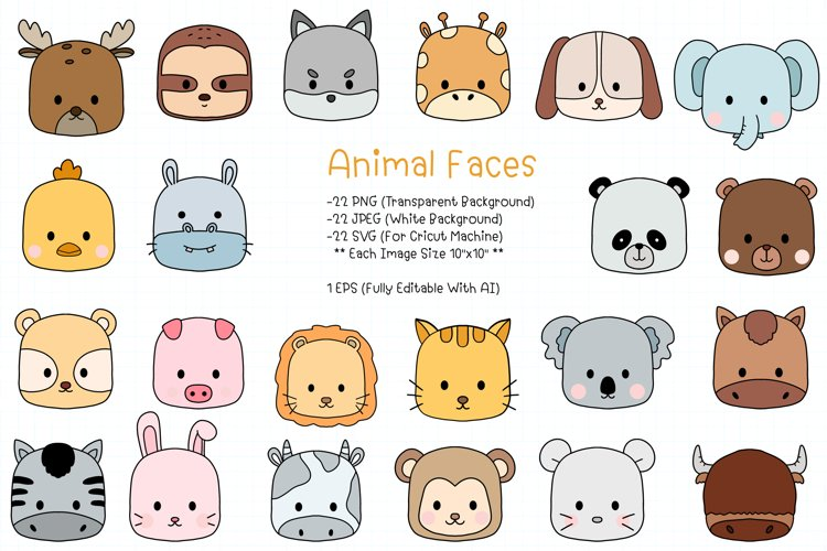 Cute Animal Face Clipart SVG, PNG, JPEG