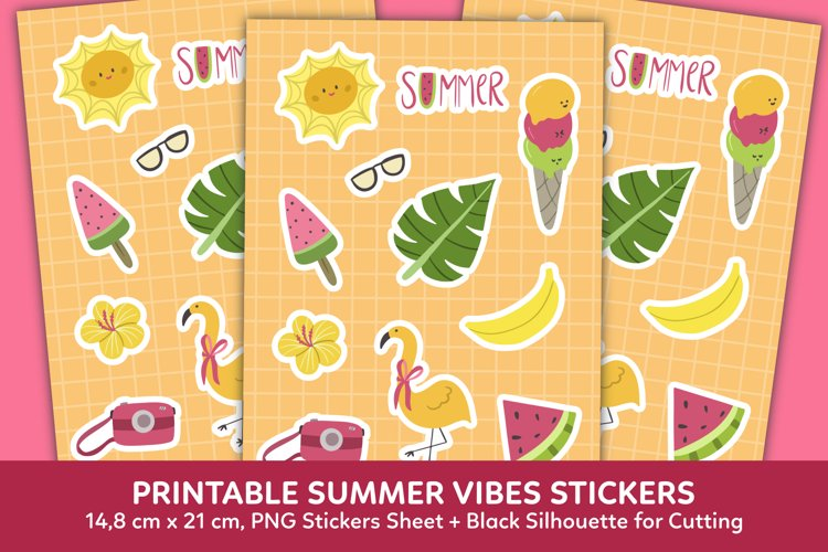 Summer Vibes Stickers Clipart Graphic