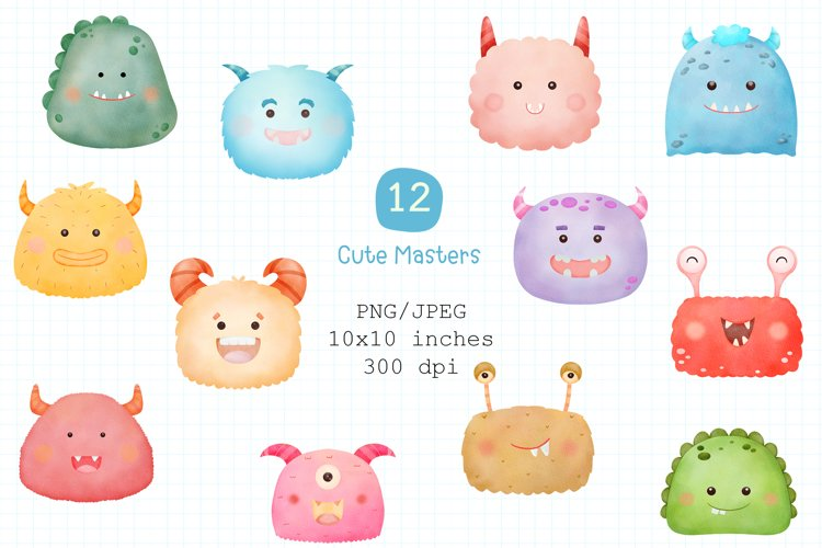 Cute Monster Watercolor Clipart PNG and JPEG.