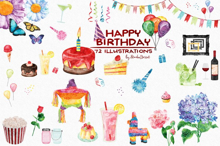 Birthday Watercolor Illustrations example image 1