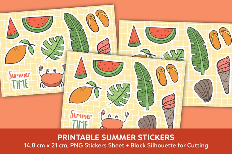 Summer Time Stickers Clipart Graphic