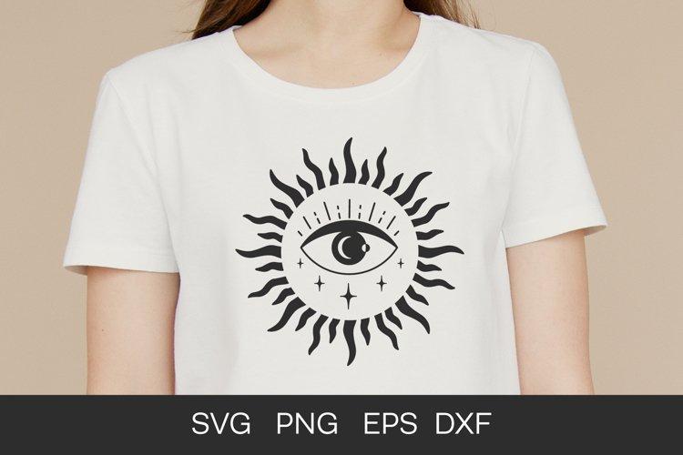 Evil eye SVG, boho, celestial eye, sun Silhouette