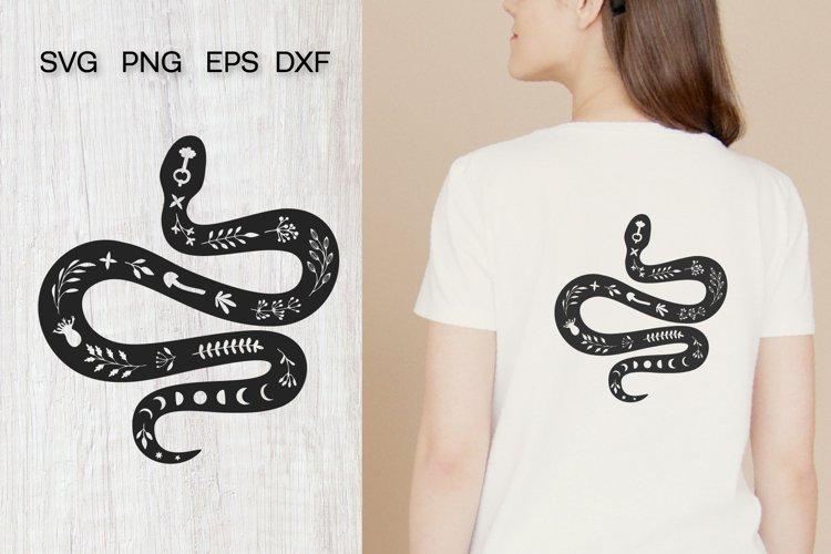 Celestial snake SVG, Boho, Mystical, Floral snake silhouette