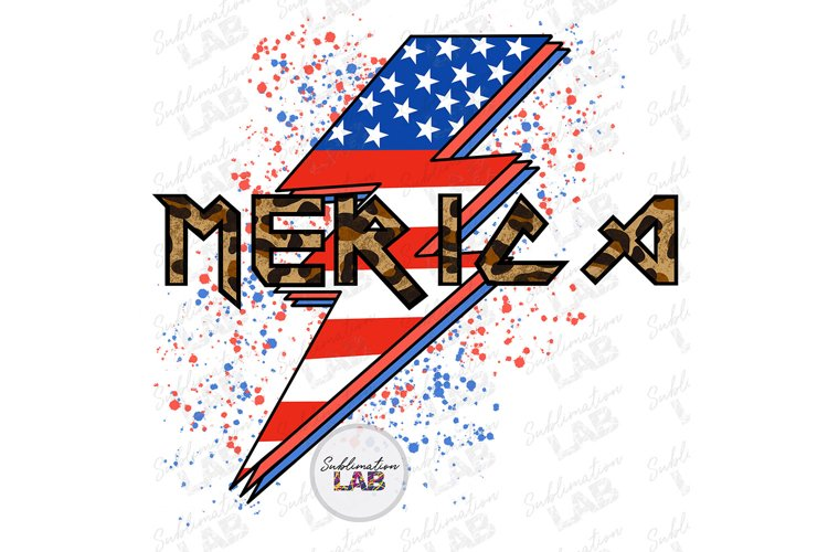 Merica Sublimation Design USA 4th of July Rock Leopard example image 1