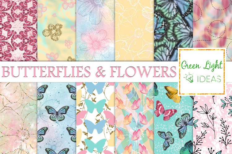 Butterflies and Flowers Digital Papers, Spring Backgrounds