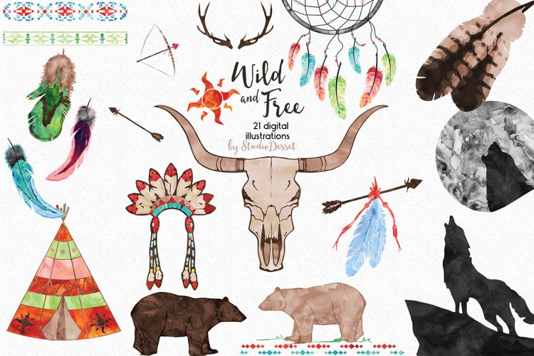 Wild and Free - Tribal Watercolor Illustrations example image 1