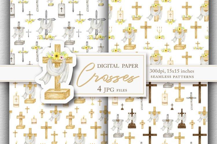 Crosses digital paper pack, Watercolor Religious seamless