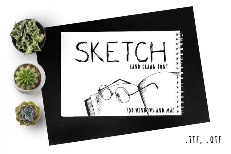 Fast sketch. Hand drawn font example image 1