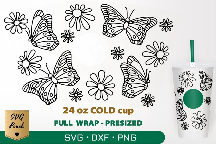 Butterflies cup wrap SVG example image 1