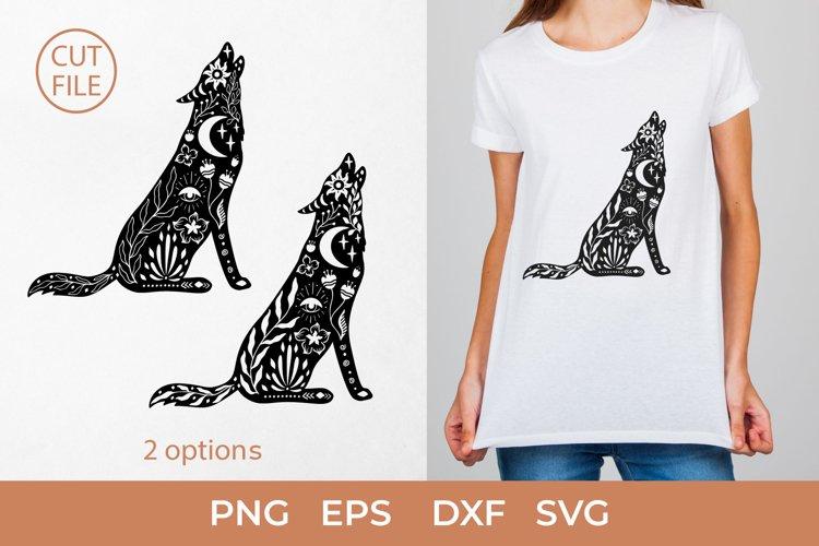 Boho Wolf SVG, Boho wolf silhouette SVG, Mystical Wolf PNG