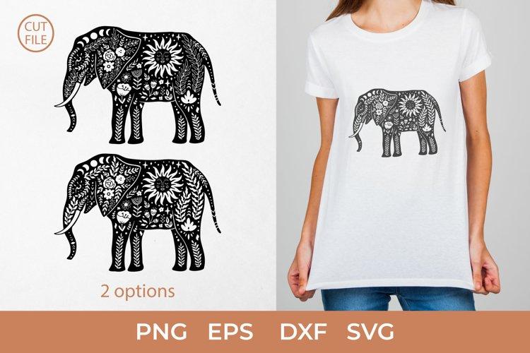Boho Elephant SVG, Elephant silhouette SVG, Floral elephant