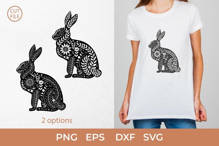 Boho Rabbit SVG, Boho rabbit silhouette SVG,Rabbit PNG, Hare