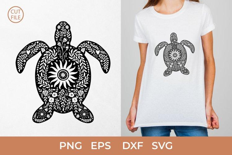 Boho Turtle SVG, Floral Turtle silhouette SVG,Sea turtle PNG