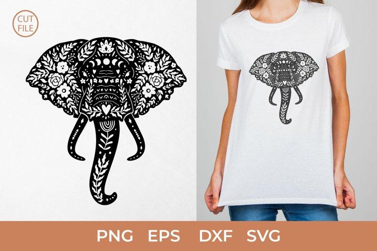 Boho Elephant SVG, Elephant head SVG,Floral elephant clipart