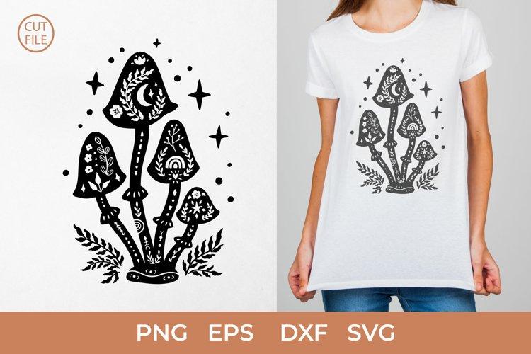 Boho mushroom SVG, Floral mushrooms, mushroom silhouette SVG
