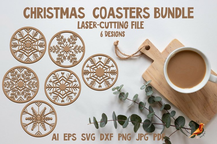Christmas Coaster bundle SVG Laser cutting files