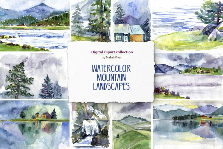 15 watercolor mountain landscapes example image 1