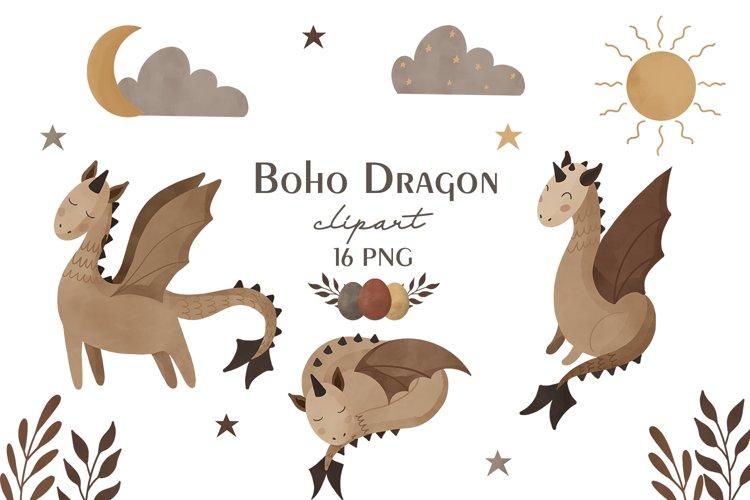 Boho dragon clipart, Dragon sublimation PNG, Boho clipart