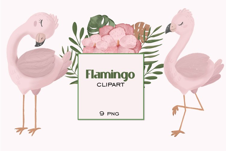 Flamingo clipart, boho animals clipart, flamingo PNG