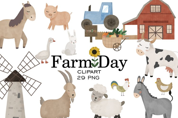 Farm clipart, Watercolor farm animals, Farm PNG, Farm print example image 1