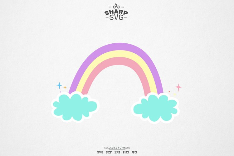 Rainbow SVG - Rainbow with Clouds SVG - Cute Rainbow SVG