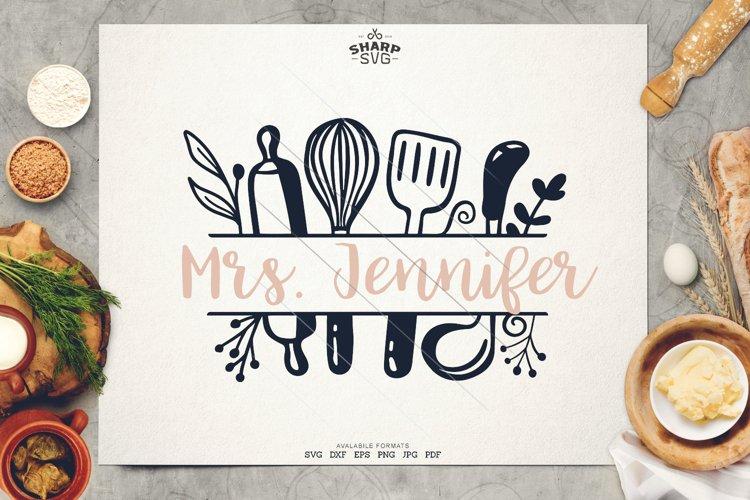 Kitchen Split Frame SVG - Kitchen Monogram SVG - Kitchen SVG