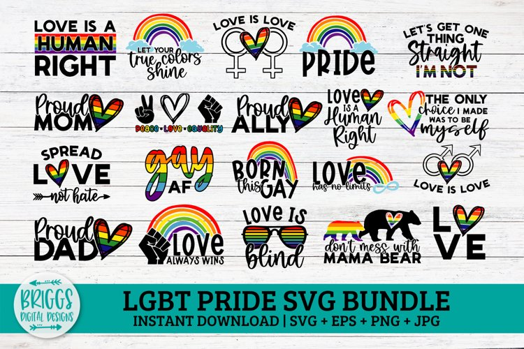 Pride SVG Bundle   20 Designs LGBT SVG, rainbow svg, love
