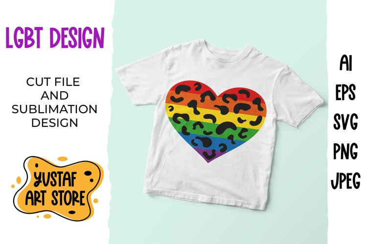 LGBT, Pride rainbow colors leopard heart SVG and sublimation