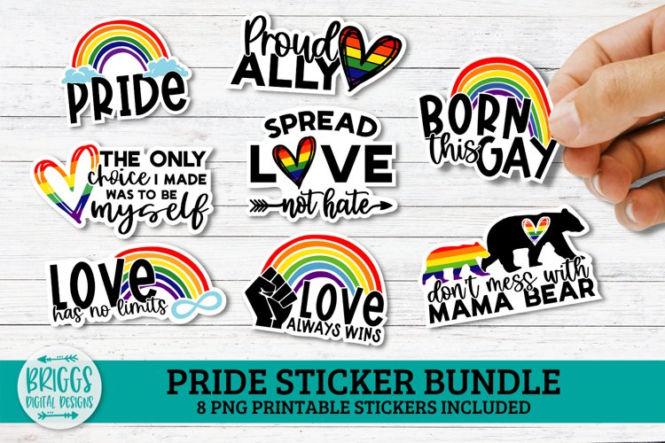 Pride Printable Sticker Bundle, LGBTQ print and cut stickers example image 1