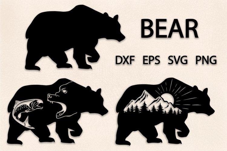 Bear Set Svg, Bear Silhouette, Mountain, Salmon, Cut File