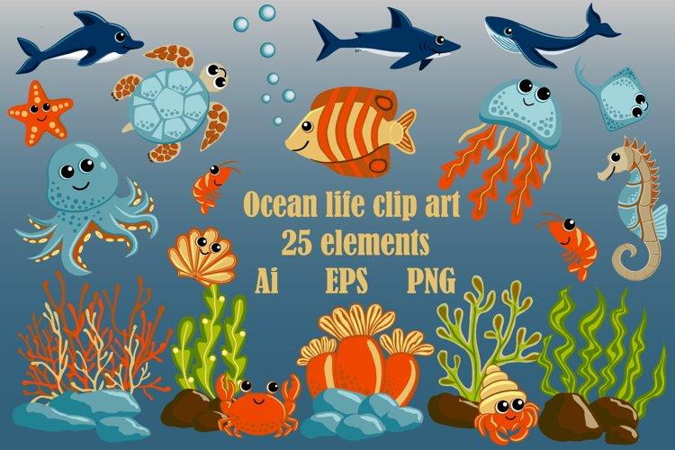 Ocean Life Clipart, Sea Animals Clipart, Marine Inhabitants