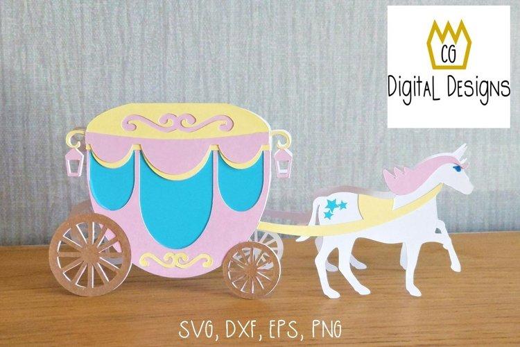 Princess Unicorn Carriage Card - SVG example image 1