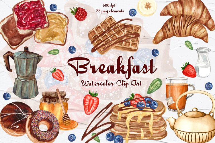 Breakfast Watercolor Clipart example image 1