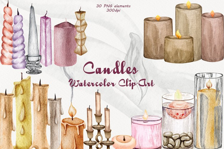 Candles Watercolor Clipart example image 1