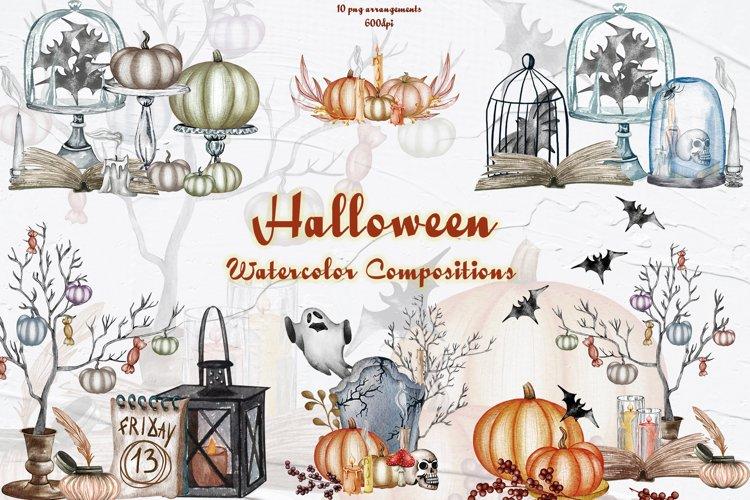 Halloween Decor Watercolor Set example image 1