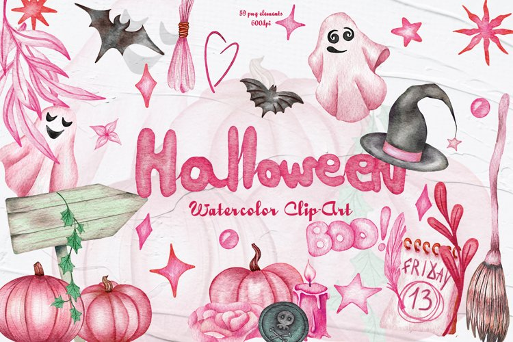 Pink Halloween Watercolor Clipart example image 1