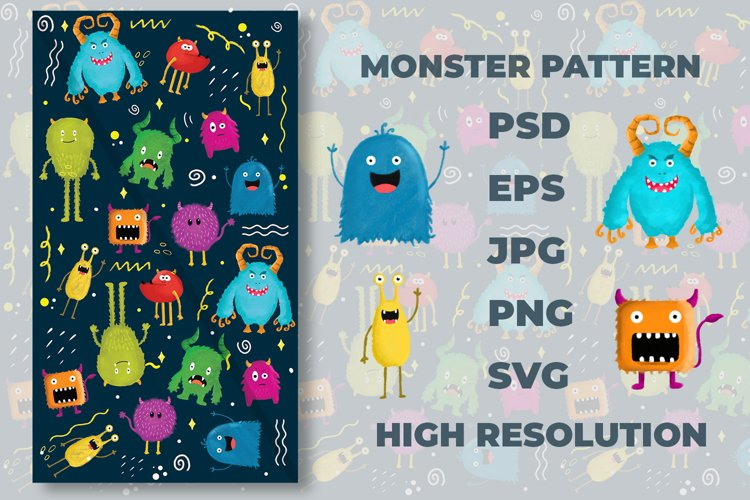 Pattern Monster SVG , PSD , JPG , PNG , EPS