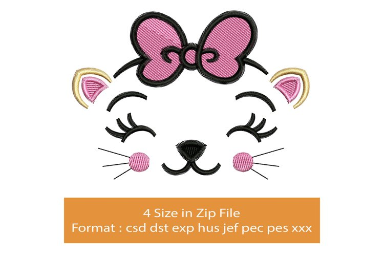 Happy Cat Face machine embroidery designs