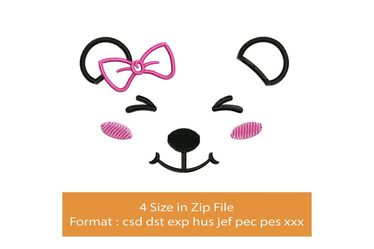 Happy Bear Face machine embroidery designs