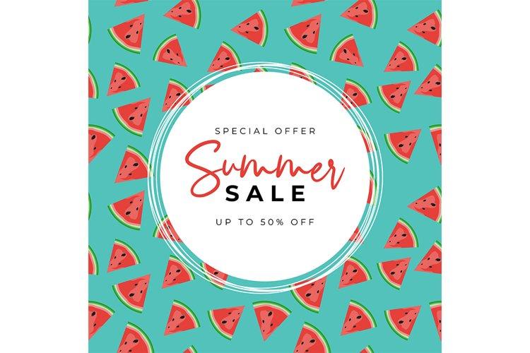 Summer Sale Background with watermelon Set
