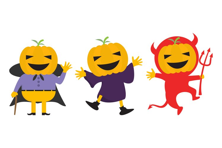 cute pumpkin with halloween costumes example image 1