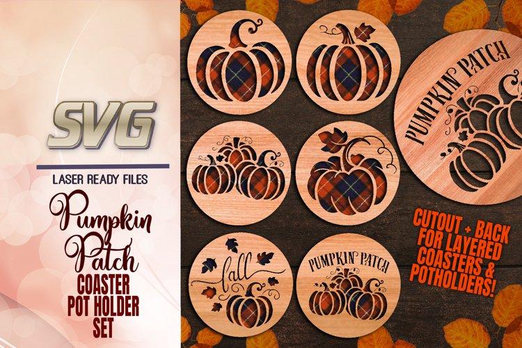 Pumpkin Patch Coaster Set SVG Glowforge Files Bundle example image 1