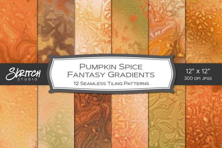 Pumpkin Spice Fantasy Gradients - 12 Seamless Patterns example image 1