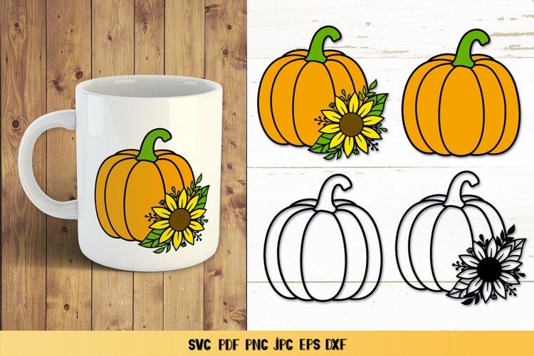 Pumpkin Sunflower SVG,Pumpkin Fall Clipart,Pumpkin Papercut example image 1