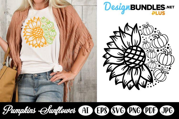 Pumpkins Sunflower SVG Template