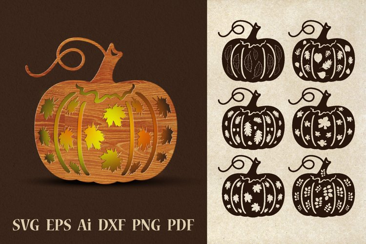 Pumpkins with perforated leaves. SVG.