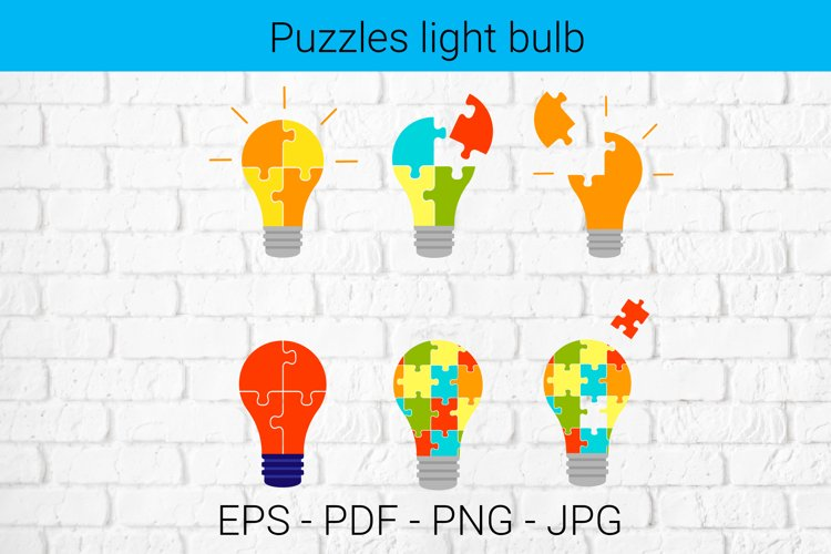 Set light bulb made of puzzle pieces.
