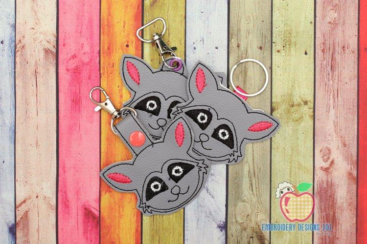 Image of Raccoon Face In The Hoop Keyfob